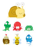 Animal Set : Slug, Crocodile,Octopus,T urtle,Chicken,Bee & Fish Royalty Free Stock Images