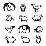 Animal set on white background Royalty Free Stock Photos