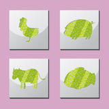 Animal Shape Frame Border Siluate Vector Royalty Free Stock Images