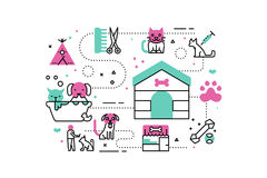 Animal Shelter illustrations Royalty Free Stock Images