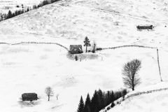 Winter scenery. Animal shelters in the Romanian Carpathians on a winter day Stock Images