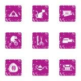 Animal show icons set, grunge style. Animal show icons set. Grunge set of 9 animal show vector icons for web isolated on white background Royalty Free Stock Image