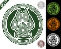 Animal sign in a circle with paw and claws. Animal logo sign, emblem, symbol in a circle with paw and claws made in a decorative manner of dark green with Royalty Free Stock Image