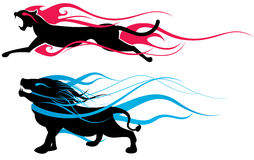 Animal silhouette. Two version,animal silhouette with flames Royalty Free Stock Photography