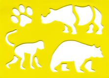 Animal silhouette. On yellow background Royalty Free Stock Photography