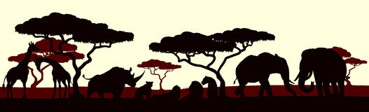Animal Silhouette African Safari Landscape Scene. An African safari animal silhouette scene landscape Stock Photo