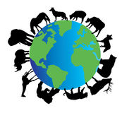 Animal silhouettes. Illustration of animal silhouettes around planet earth stock illustration