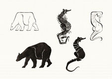 Animal Silhouettes (Ink) Stock Images