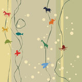 Animal Silhouettes and Vines Background with Spots and Lines Royalty Free Stock Photo