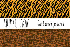 Animal skin hand drawn texture, Vector seamless pattern set, sketch drawing clocodile and tiger skin textures Royalty Free Stock Photography
