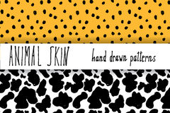 Animal skin hand drawn texture, Vector seamless pattern set, sketch drawing leapard dots and cow skin textures Royalty Free Stock Images