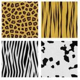 Animal skin patterns. Four animal skin seamless patterns Royalty Free Stock Image
