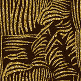 Animal skin seamless pattern with golden glitter. Animal skin seamless pattern, golden glitter zebra texture on a dark brown background Royalty Free Stock Photos