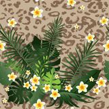 Animal skin Seamless pattern. Seamless Pattern Exotic Floral Background. Tropical Flowers and Leaves Backdrop. Cartoon Greenery Design for Invitation, Flyer Stock Photo