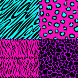 Animal skin seamless patterns in bright colors. Vector illustration - eps 8 Royalty Free Stock Photo