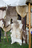 Animal skins  and pelts for sale Royalty Free Stock Photos