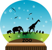 Animal snow-globe. Illustration Stock Photos