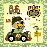 Animal soldier. An animal soldier drive a military car on cmouflage frame, vector cartoon. EPS 10 Royalty Free Stock Images