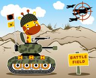 Animal soldier in a battle field. Giraffe the soldier on the armored vehicle Stock Image