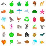 Animal species icons set, cartoon style. Animal species icons set. Cartoon style of 36 animal species vector icons for web isolated on white background Royalty Free Stock Photos