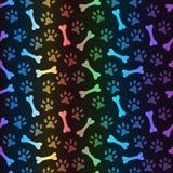 Animal spectrum seamless pattern of paw footprint Stock Image