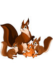 Animal squirrel family character cartoon  illustration Royalty Free Stock Photography