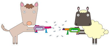 Animal squirts. A cartoon illustration of a sheep and a wolf playing with squirt guns Royalty Free Stock Photo