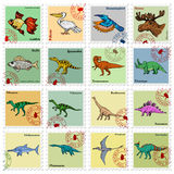 Animal stamps with dinosaur, hummingbird and other animals Stock Photos