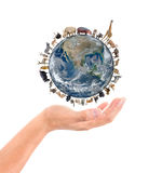 Animal stand around the world on the hand Royalty Free Stock Image