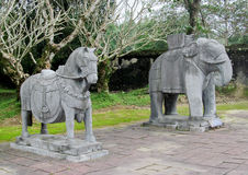 Animal statues in imperial Tomb of Khai Dinh Royalty Free Stock Photo