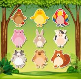 Animal sticker on nature background. Illustration royalty free illustration