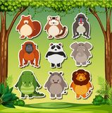 Animal sticker on nature background. Illustration stock illustration