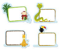Animal stickers. Four animal stickers for schoo, monkey, snake, giraffe and tucan Stock Image