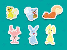 Animal stickers Royalty Free Stock Images
