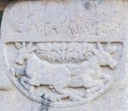 Animal Stone Motif and Brahmi Incriptions Sanchi Stock Images