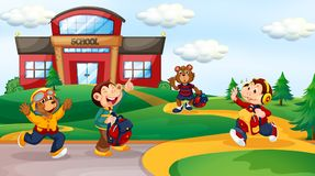 Animal student at school background. Illustration stock illustration