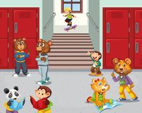 Animal student at school hallway. Illustration royalty free illustration