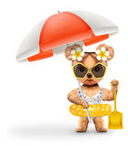 Animal in swimsuit with umbrella holding shovel. Concept summer holidays, travel vacation concept. Realistic 3D illustration Stock Images
