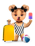 Animal in swimwear holding travel luggage Stock Photography