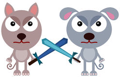 Animal sword fight. Illustration of a cat and dog fighting with swords Stock Photography