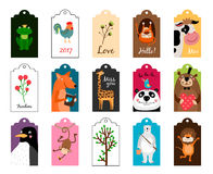 Animal tags vector illustration. Frames or label with animals for school isolated on white background Stock Photos