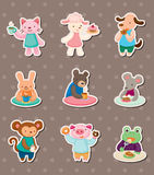 Animal tea time stickers. Cartoon vector illustration Stock Photography