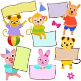 Animal Theme of cute vector Icons / tag. Blank frame in pastel stock illustration