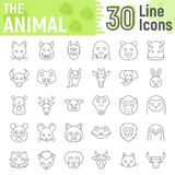 Animal thin line icon set, beast symbols. Collection, vector sketches, logo illustrations, farm signs linear pictograms package isolated on white background Stock Photography