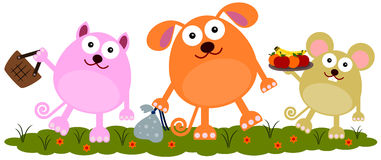 Animal to picnic. A cute illustration of animals going to a picnic Royalty Free Stock Photography