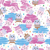 Animal toy rain drop watercolor cloud seamless pattern. This illustration is design and drawing animal toy cat bear rabbit with watercolor stripe cloud and Royalty Free Stock Images