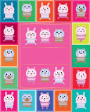 Animal toy stripe cat bear rabbit frame Stock Photography