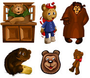 Animal toy teddy bears clipart cartoon style  illustration Royalty Free Stock Photos