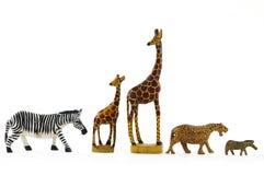 Animal toys. Funny Africa animal toys on white Royalty Free Stock Photos