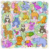 Animal Toys Pattern. Animal colorful outline toys on abstract wave background. Fun pattern for greeting cards, textile prints Royalty Free Stock Image